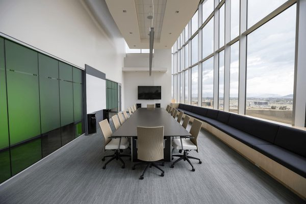 Office boardroom with modern furniture and ergonomic seating