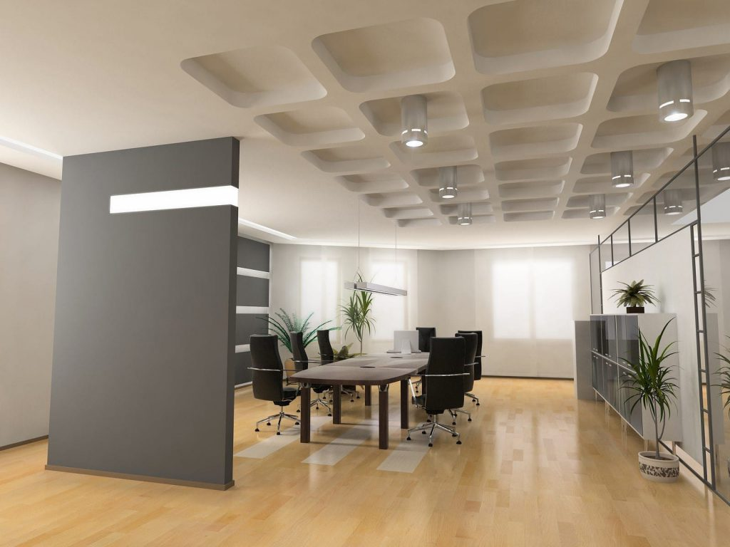 Modern office boardroom with polished wooden floor and sleek white deco