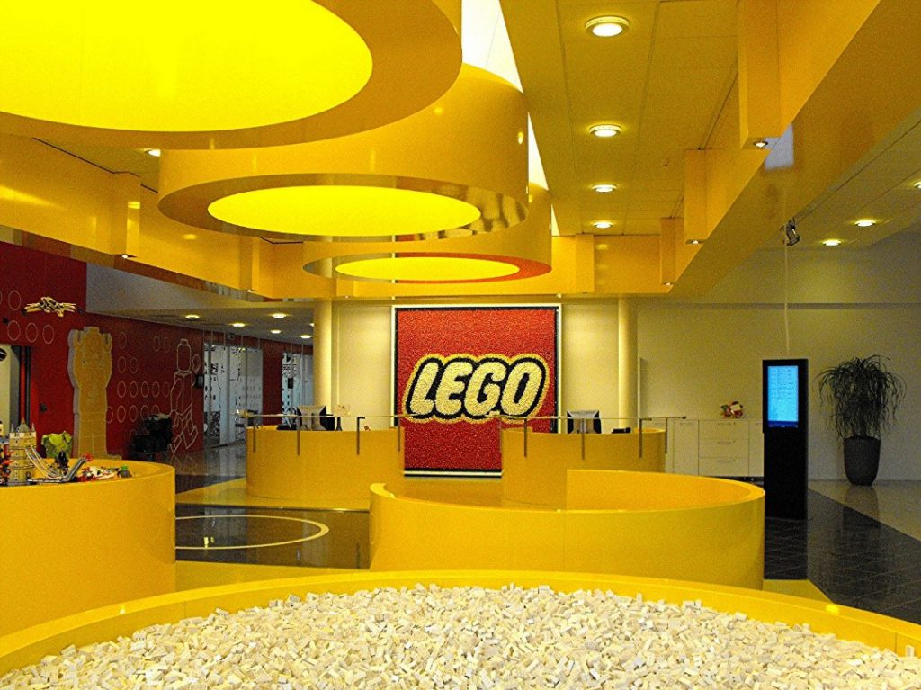 Yellow lobby of Lego office in Denmark