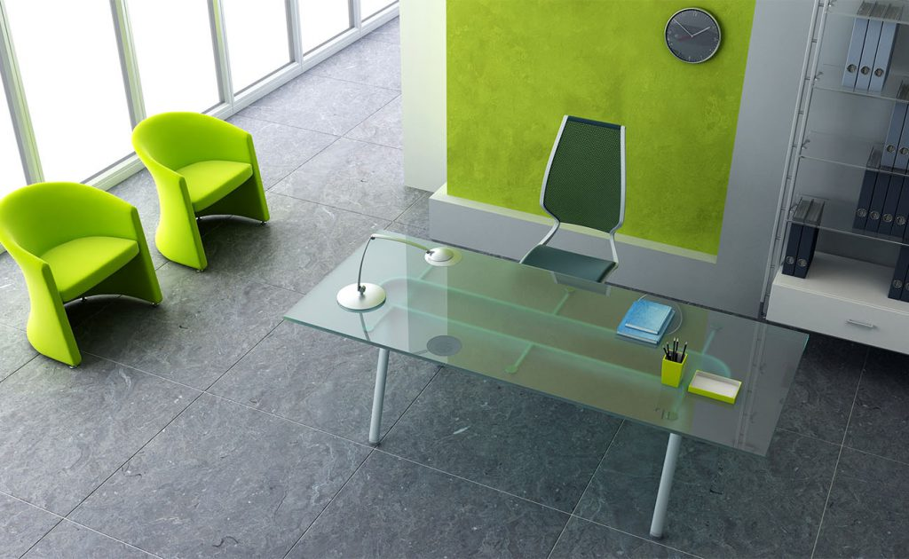 Green chairs in modern commercial office receparea