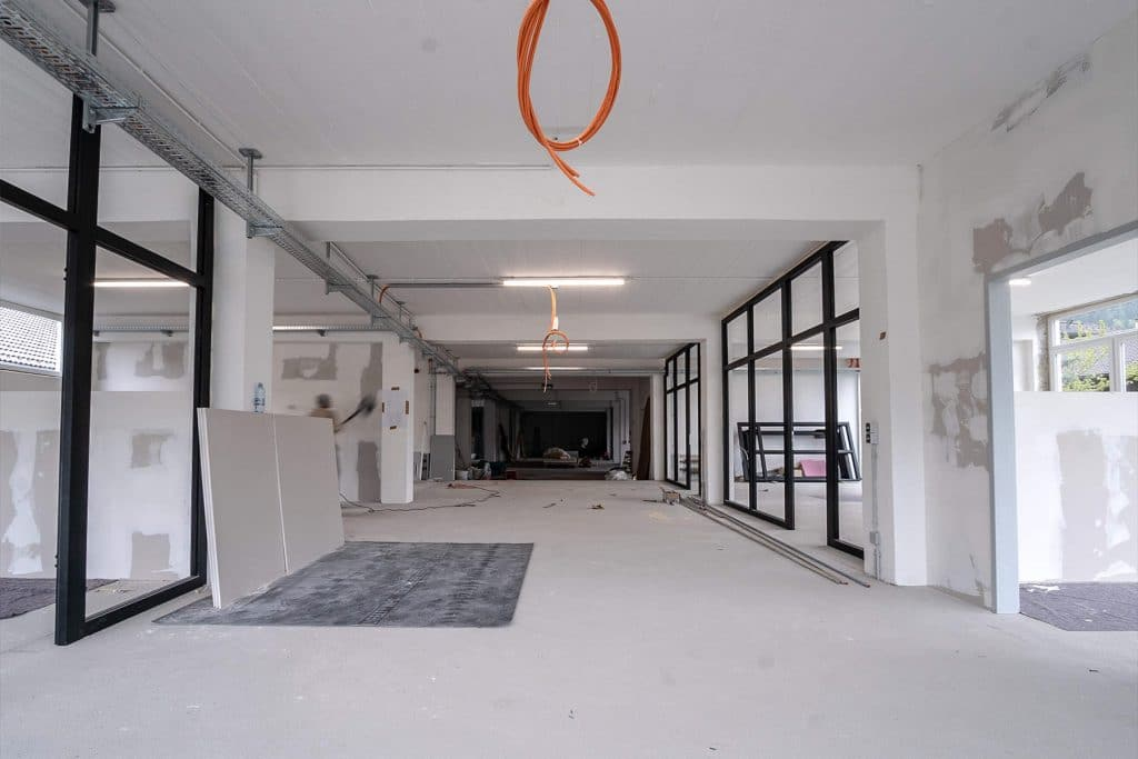 A stripped office undergoing an office fit out