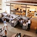 Business works in an open plan office