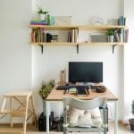 Home office workstation design with computer and task lighting