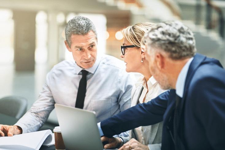 Three mature business executives having a meeting